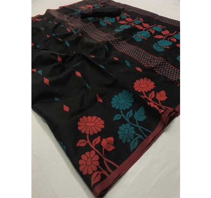 New Trending Black Color Linen Cotton Silk on Silk Base  Saree