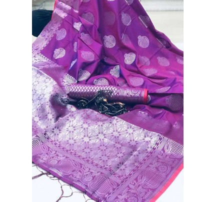 Latest Traditional Look Purple Color Soft Silk Weaving Saree