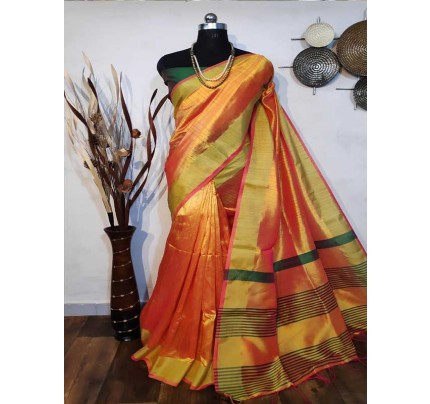 New Eye Catcher Golden Color Raw Silk Saree With mutli color border