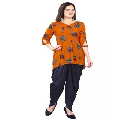 Summer Special Orange color Fancy Top With Tulip Patiala