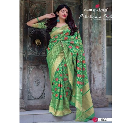 Latest Traditional Look Green Color Pure Jamdani Silk with Minakari Weaving Saree
