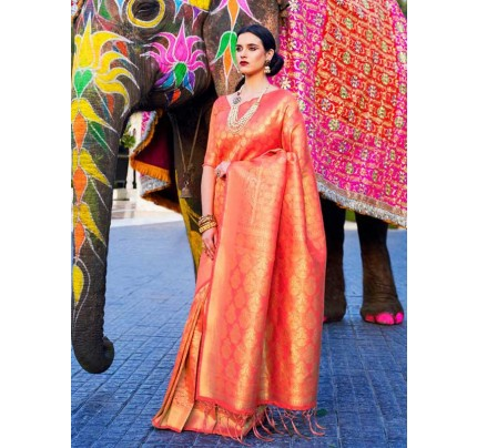 Married Season Orange Color Soft Weaving Silk Saree
