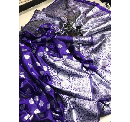 Stunning Look Blue Colour Soft Banarasi Silk Zari Rich Saree