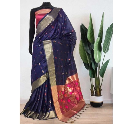 Beautiful Blue Soft Handloom Cotton Weaving Saree With Meenakari Butti And Contrast  Woven Pallu Saree