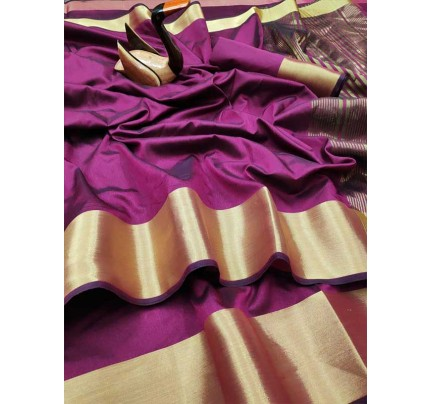 Latest Traditional Look Purple Color Dola Silk Saree With Golden Weaving Border And Weaving Pallu