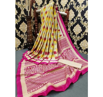 Wedding Look Multi Color Soft Linen Jute Silk Saree