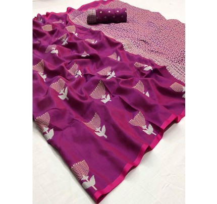 Navratri Speacial Purple Colour Soft Silk weaving Saree