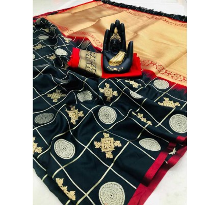 Stylish Look Black Colour Soft Silk with silver & gold zari weaving work saree