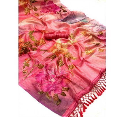 Launching Beautiful Japanese Rainbow allover zari with classic Digital Printed Sarees