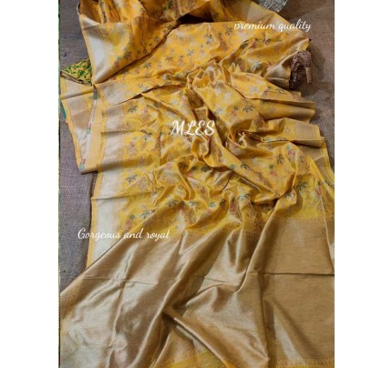 Wedding Designer Yellow Color Pure Silk weaving Saree