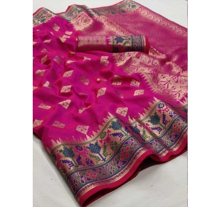 Wedding Designer Pink Color Pure Silk weaving Saree