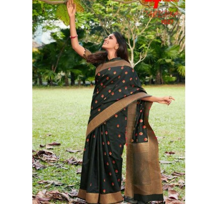 New Eye Catcher Black Color Pure Soft Silk weaving Saree