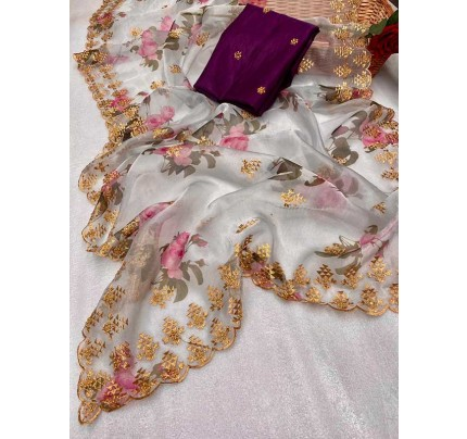 Trending Grey color Soft Pure Organza Embroidery Sarees
