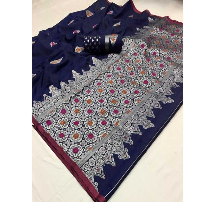 Latest Traditional Look Blue Color Soft Silk Weaving Saree
