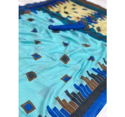 Wedding Look Blue Color Soft Linen Jute Silk Saree