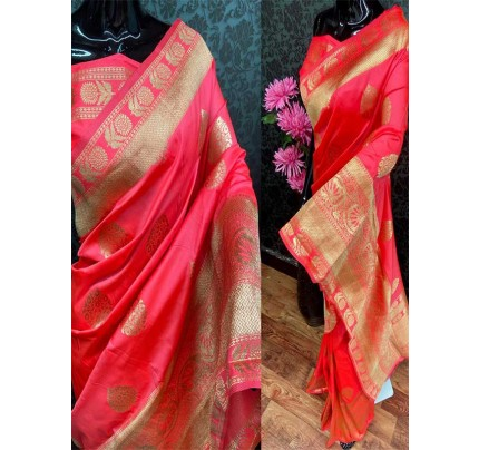 Special Edition Pink Color Banarasi Silk minakari weaving work Saree