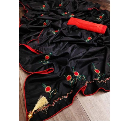 Graceful combination for Wedding Look Black Sana Silk Saree hand work with piping