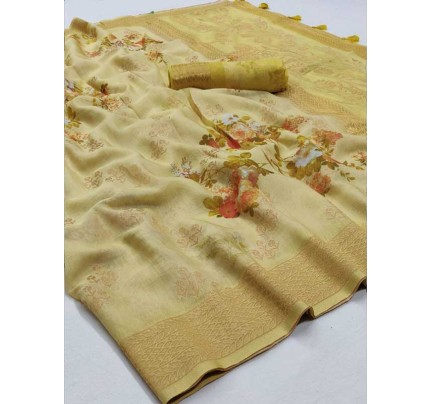 New Eye Catcher Yellow  Color Soft Silk Digital Printed Saree