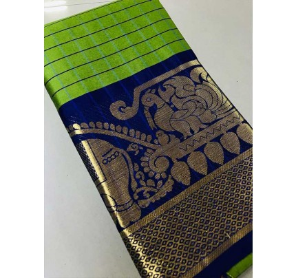 Elegance Look Green Colored Pure Silk Cotton Saree