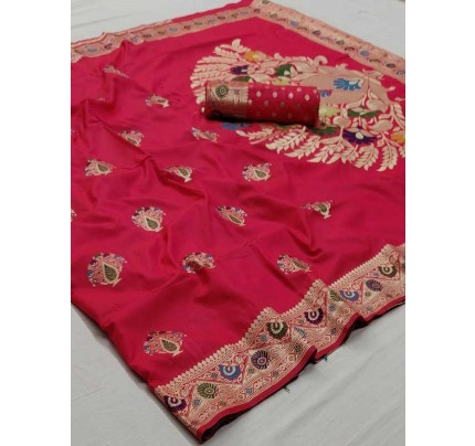New Eye Catcher Pink  Color Soft Weaving Silk With Exclusive Meena Work Saree