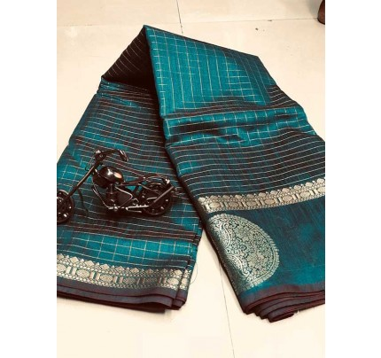Stunning Cyan  Color Soft Linen Silk Saree