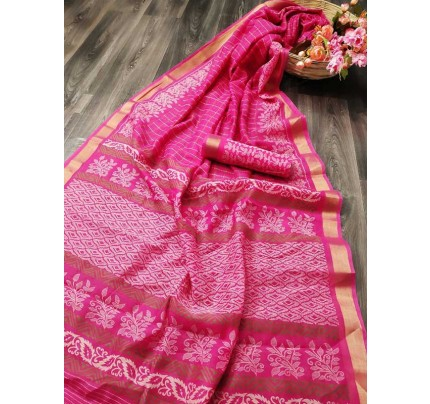 Elegance Look Pink Colored Cotton Silver Zari Patta Saree