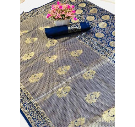 Special Edition Blue Color Banarasi Silk minakari weaving work Saree