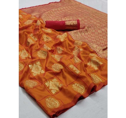 Wedding Designer Orange  Color Pure Silk weaving Saree