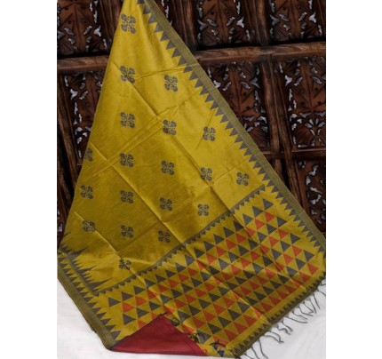 Beautiful Mehendi Handloom Raw Silk Weaving Saree With All Over Resham Weaving