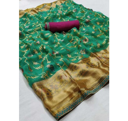 Latest Modern Look Multi Color  Soft Braso Silk Saree