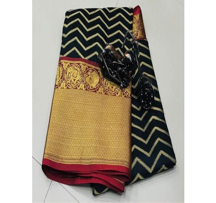 Black Colour Kanchipuram style Banaras weaving Silk Saree with Golden zari Border