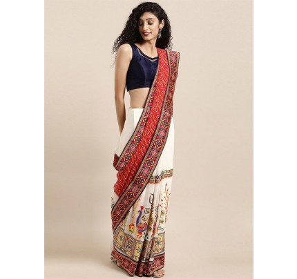 Designer White Georgette Embroidered Bandhani Saree