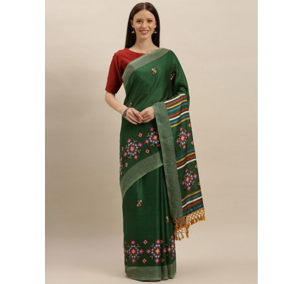 Traditional Look Green Colour Jute Silk Printed Ikat Saree