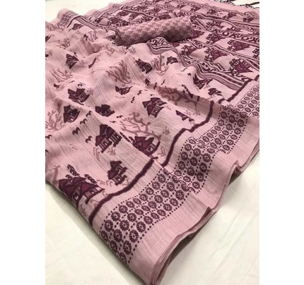 Stunning Purple Color Soft Cotton Fabric Printed Saree