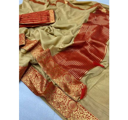Stylish Look Beige Colour Mogha Silk Saree With a Weaving Border Concept Saree