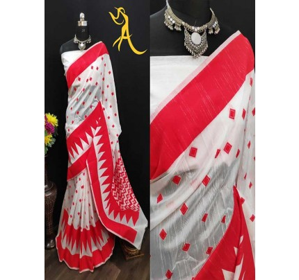 White Red  Traditional Colour Soft Linen Cotton Saree (5 -PEICE SET)