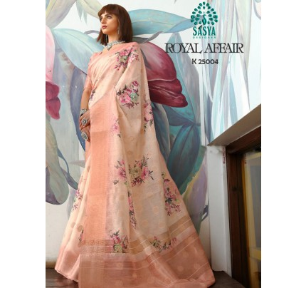 Stunning Look Peach Color Pure Cotton Printed Saree with Jacquard weaving Border
