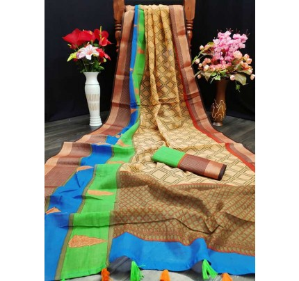 New Trending Multi Colour Soft Cotton  With Extra Ordinary Prints All Over The Saree
