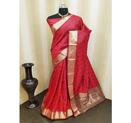 Classic Look Red Color Satin Silk Saree With AllOver weaving work