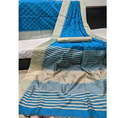 Beautiful SkyBlue Colour Handloom Raw Silk Saree With Embroidered Cut Work All Over