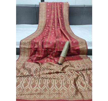 Attractive Look Red Color Ghicha Silk Saree With All Over Zari Checks Weaves