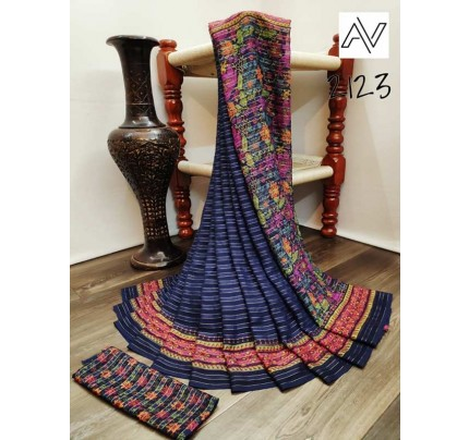 Eye-Catching Look Blue color Viscose Lining GeorgettePrinted Saree