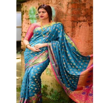 Rich Look SkyBlue Colour Soft Banarasi Silk Weaving Work Saree with zari woven pallu