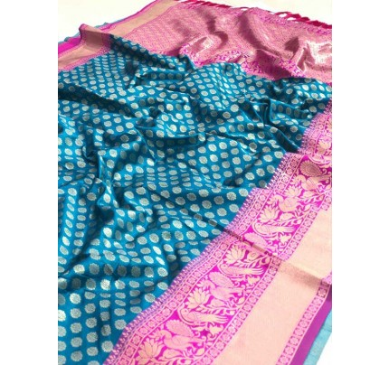 Festival Look Cyan Colour  Pure Jacquard Resham Zari Work Vibrant 2 Colours Saree