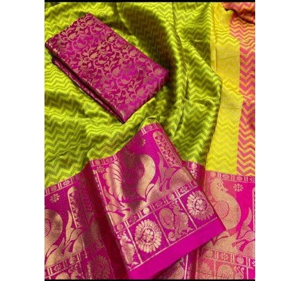 Elegance Look Green Colored Rich Cotton  Saree