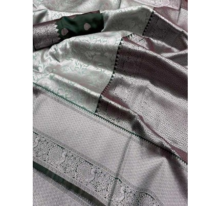 Wedding Designe Silver Color Soft Silk Saree With Silver Zari Design