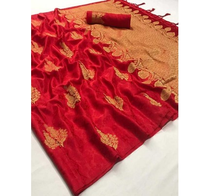 Classic Look Red Color Soft Sattin Silk Saree