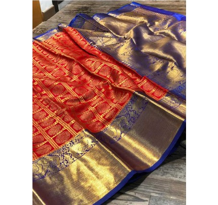 Attractive Look Red Colour  Banarasi Silk With Beautiful Zari  Work Saree