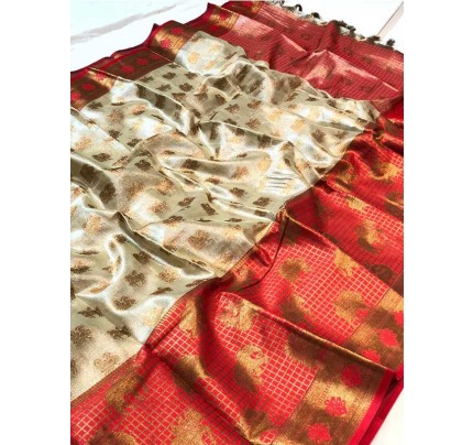 Beautiful Multi Color Kora muslin weaving Saree with pretty zari weaves