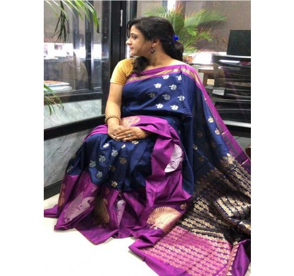 Blue Colour Banarsi Handloom Saree With Perfect Weave Of Peacock In Border